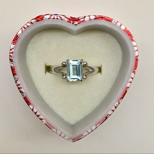 Blue Topaz 925 Sterling Silver Emerald Cut Ring